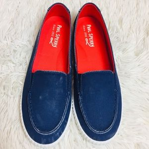 NEW Paul Sperry Navy Washed Slip On Loafers 6.5